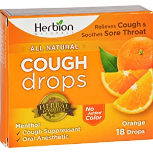 2Pack! Herbion Naturals Cough Drops - All Natural - Orange - 18 Drops