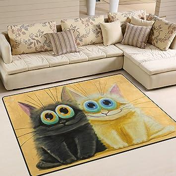 ingbags Super suave moderno blanco y negro gatos grandes área Rugs sala de estar alfombra dormitorio ...