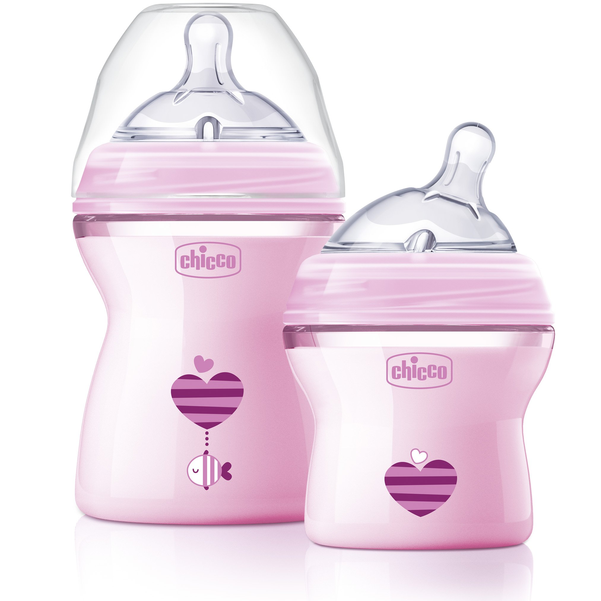 Chicco NaturalFit Colorific Bottle 2-Pack 0m+ Slow Flow, Pink