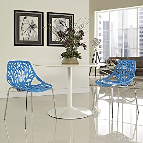 Modway Stencil Modern Stacking Two Kitchen and Dining Room Chairs in Blue