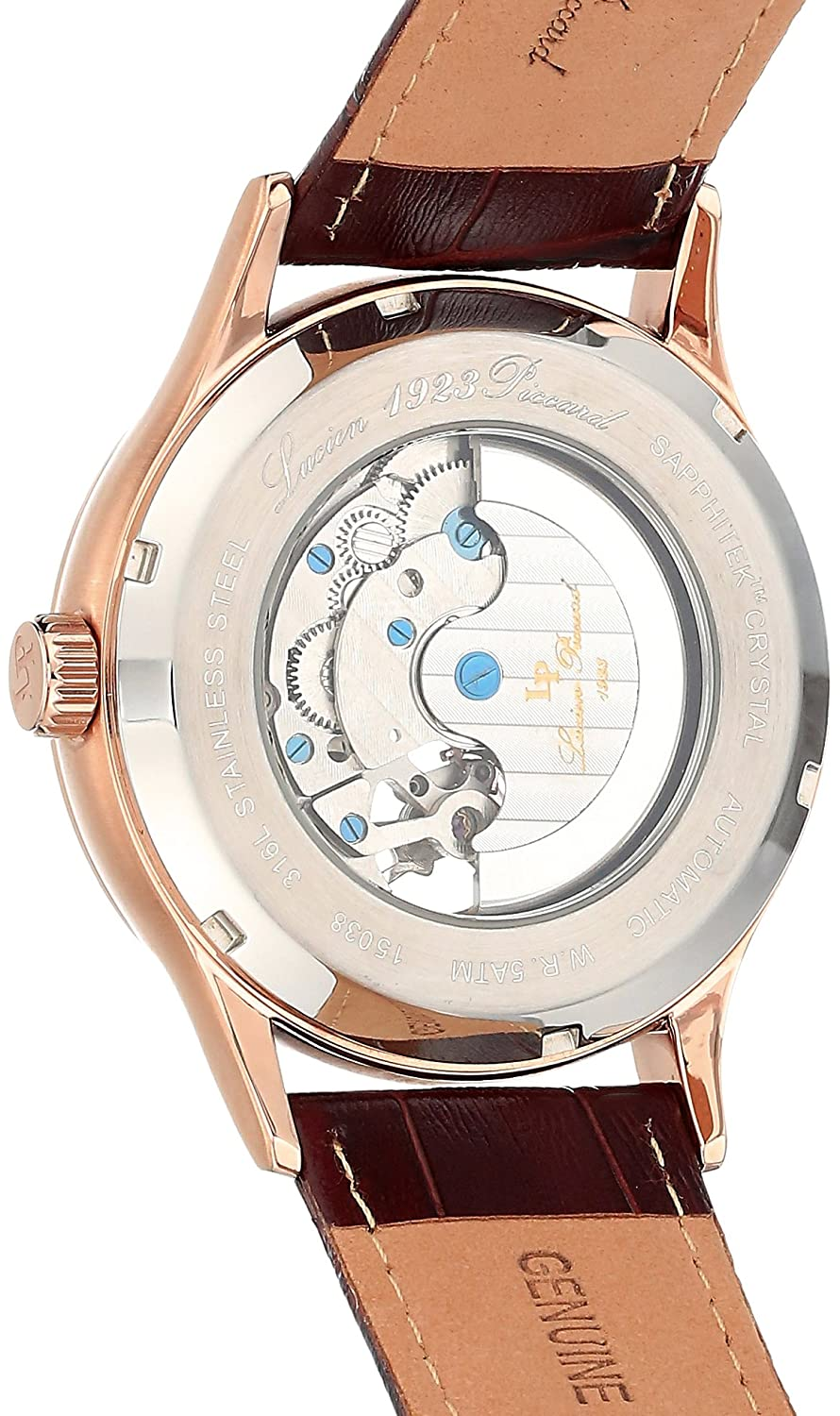 Amazon.com: Lucien Piccard Transway Open Heart Automatic Mens Watch LP-15038-RG-02S: Watches