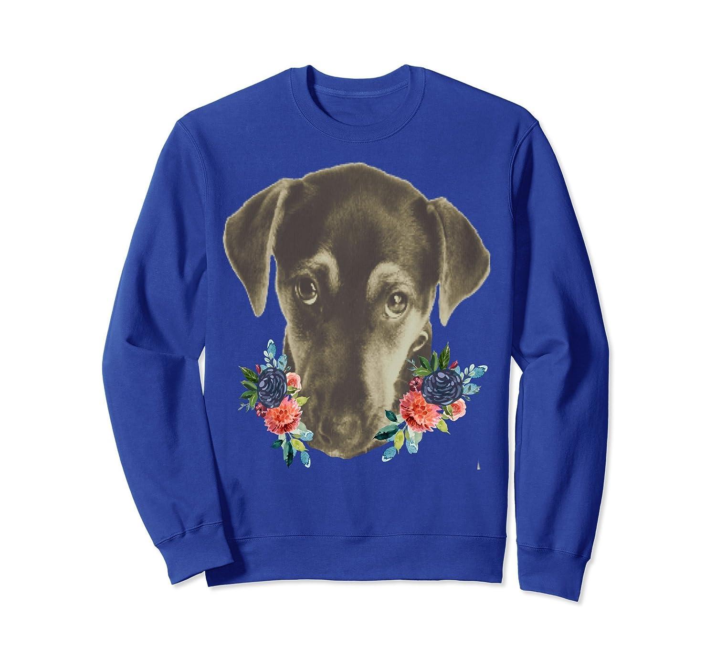 Sad Puppy Face Floral Watercolor Flowers Fashion Sweatshirt-AZP