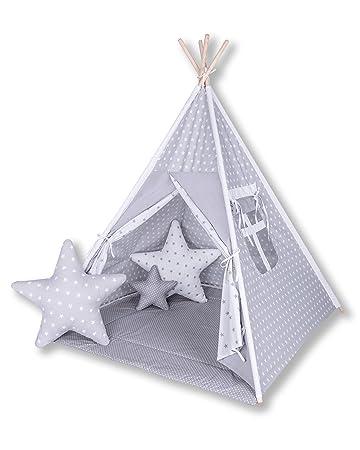 Amilian® Tipi Spielzelt Zelt für Kinder T16 (Spielzelt mit Tipidecke/mit 3  x Sternkissen)