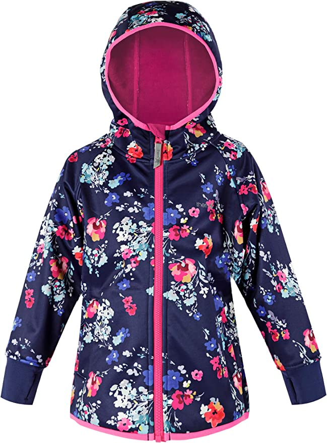 Lightweight Recycled Plastic Raincoat Toddler Kids Youth Fleece Lined Softshell Therm Girls Rain Jacket