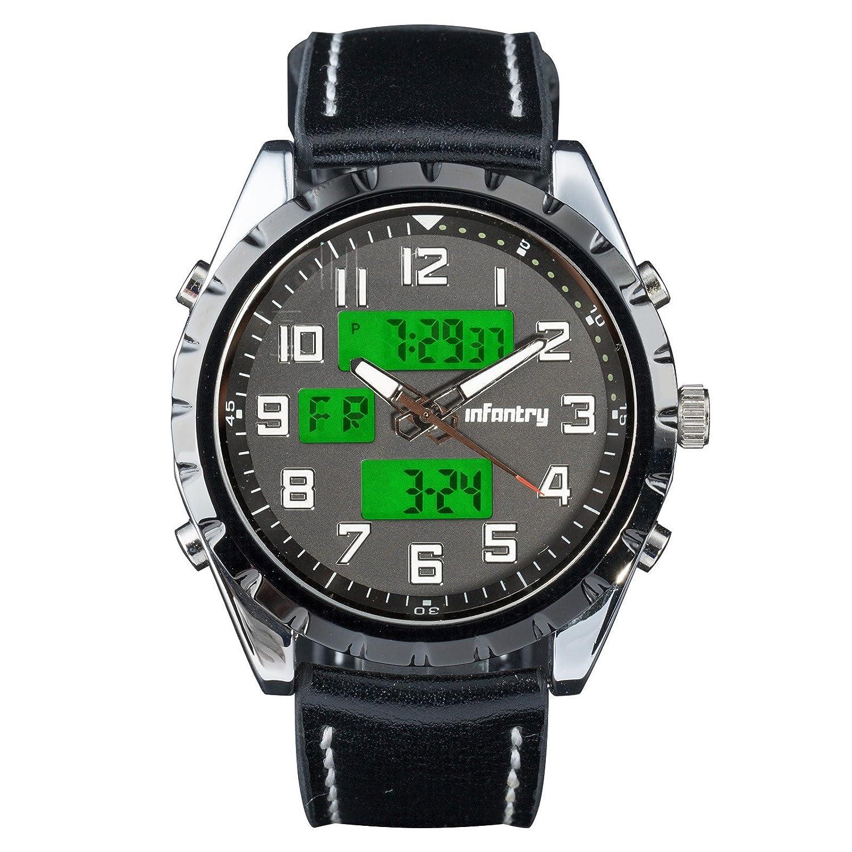 7de4679faeb0 INFANTRY Mens Quartz Analogue Digital LCD Wrist Watch Black Date Day Chronograph  Alarm Military Army Leather  Rubber +Band Tool  FS-004-BLK-SET  ...