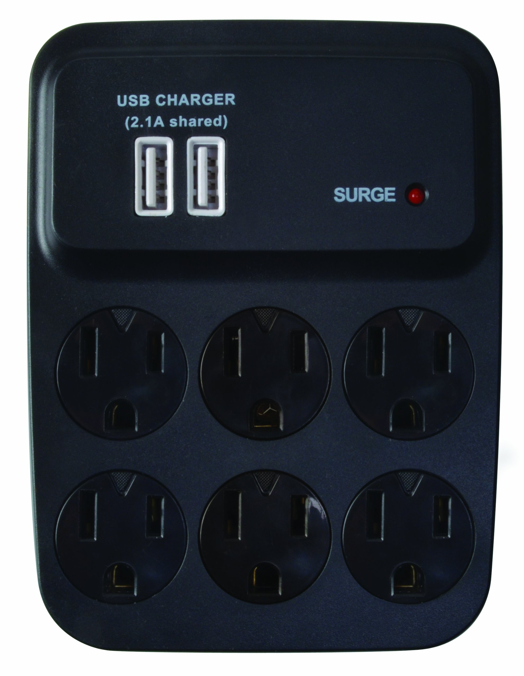 Woods 041052 Dual USB Charger 6-Outlet Surge Protector with Built-in Cradle, 900-Joules of Protection