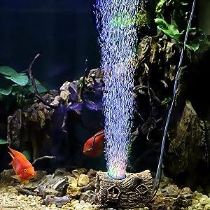 hygger Aquarium LED Bubble Light Fish Tank Air Stone Light Colored Light Ornament for Aquarium Fish Tank