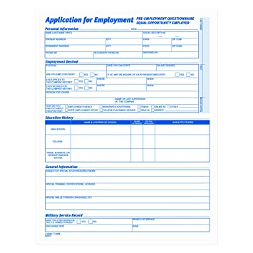 Amazon.com : TOPS 3288 Comprehensive Employee Application Form, 8 1 ...