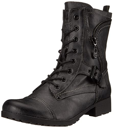 Amazon.com | Guess Women's Brylee Leather Combat Style Fashion ...