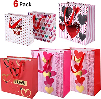 20 Hearts Cello Cellophane Gift Bags with Ties Valentine Display Party Favour