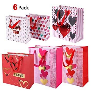 Konsait 6pack Valentine Gift Bags Paper With Handles Treat Bag Goodie Heart Decor For