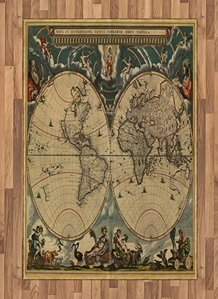 Amazon Com Ambesonne Vintage Area Rug Dated Old Map Of Ancient