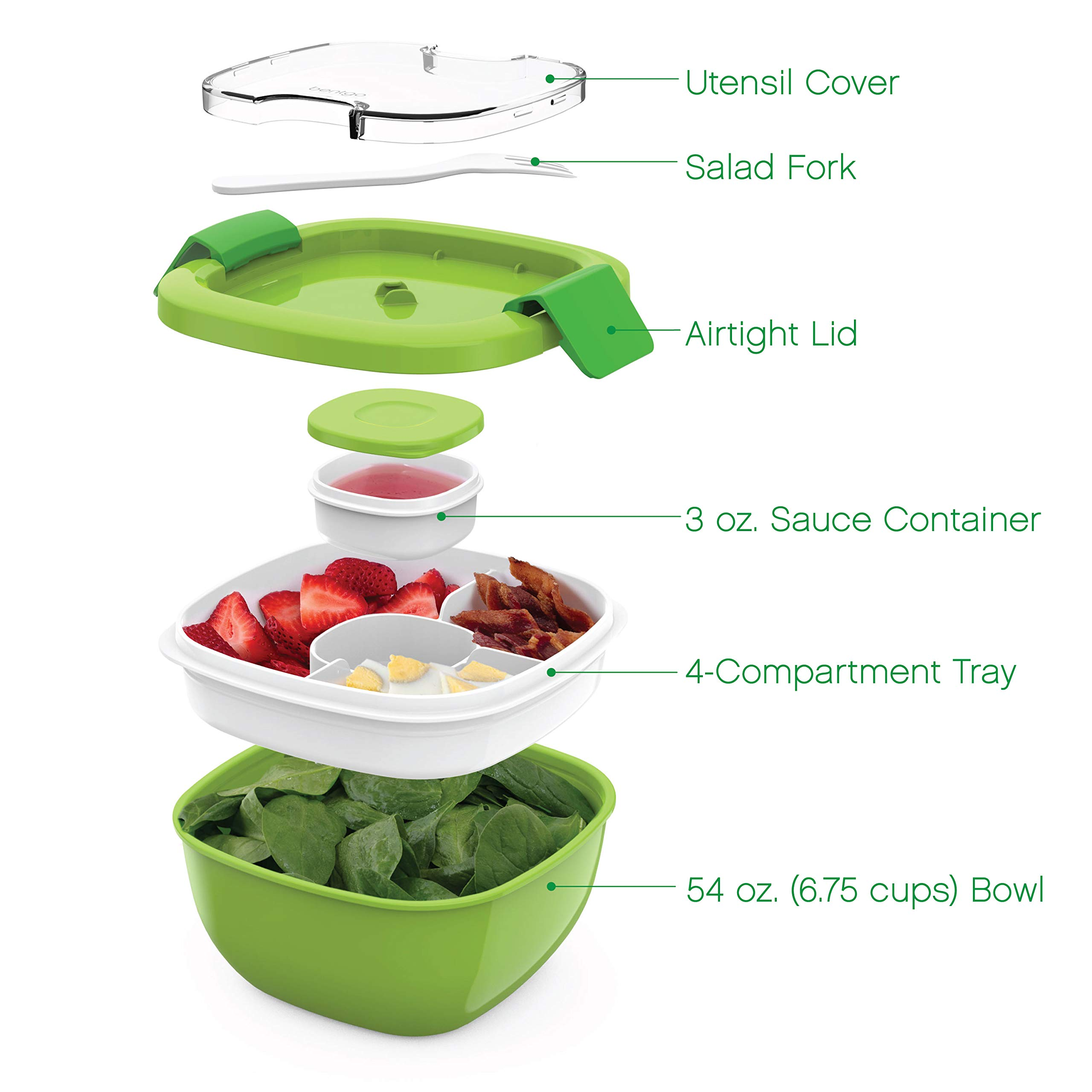 Bentgo Salad (Green) BPA-Free Lunch Container with Large 54-oz Salad Bowl, 3-Compartment Bento-Style Tray for Salad Toppings and Snacks, 3-oz Sauce Container for Dressings, and Built-In Reusable Fork by Bentgo (Image #3)