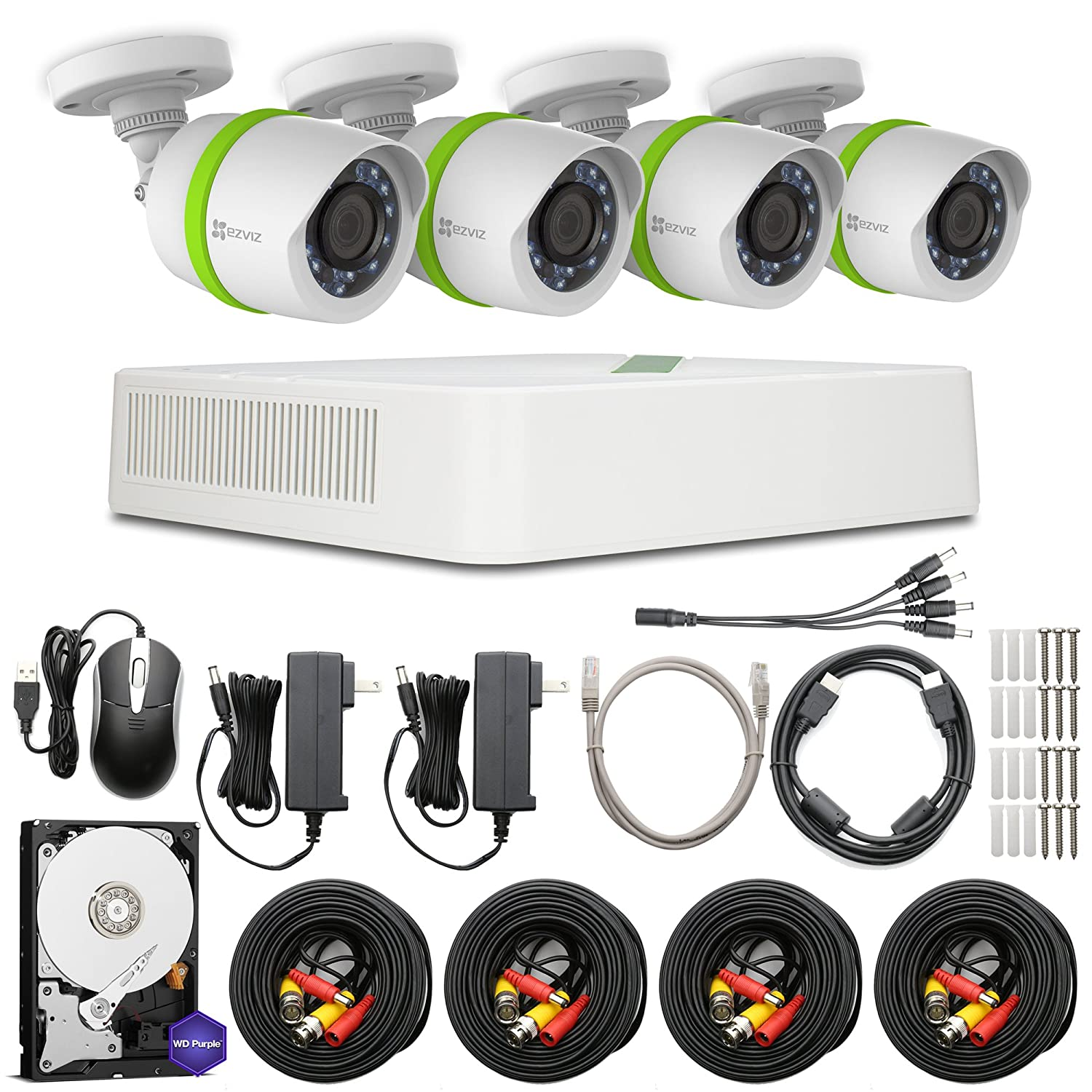 Ezviz Full Hd 1080p Outdoor Surveillance System 4 Security Camera Cable Wire Diagram Weatherproof Cameras Channel 1tb Dvr Storage 100ft Night Vision