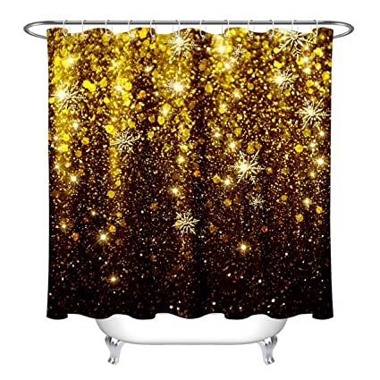 LB Black And Gold Glitter Shower Curtain With Golden Snowflakes Holiday Party Decor Glam Curtains