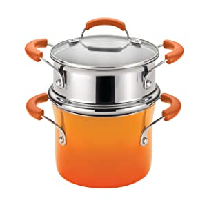 Rachael Ray Classic Brights Hard Enamel Nonstick 3-Quart Covered Steamer Set, Orange Gradient
