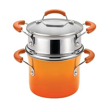 Rachael Ray Classic Brights Hard Enamel Nonstick 3-Quart Covered Steamer Set, Orange Gradient
