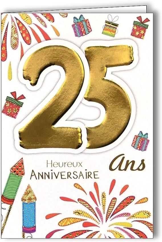 Age Mv 69 2027 Carte Anniversaire 25 Ans Jeune Homme Femme Motif Feu D Artifice Fete Cadeaux Amazon Fr Fournitures De Bureau