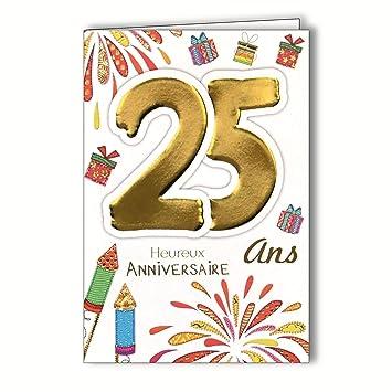 Age Mv 69 2027 Carte Anniversaire 25 Ans Jeune Homme Femme Motif Feu D Artifice Fête Cadeaux