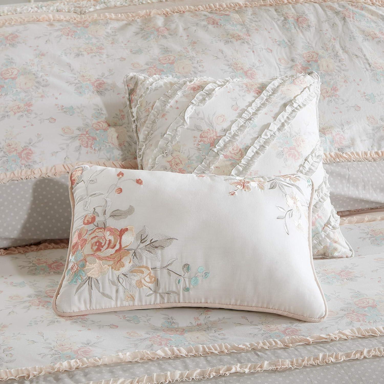 "Madison Park 100% Cotton Comforter Set-Modern Cottage Design All Season Down Alternative Bedding, Matching Shams, Bedskirt, Decorative Pillows, Queen(90""x90""), Serendipity, Coral 9 Piece: Home & Kitchen"
