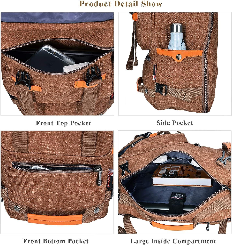 WITZMAN Canvas Backpack Vintage Travel Backpack Hiking Luggage Rucksack Laptop Bags