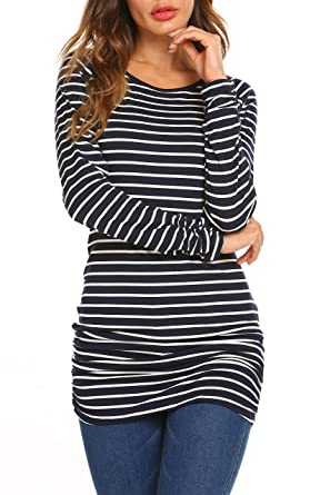 OURS Womens Basic Slim Fit Long Sleeve Striped T Shirt Dress Ruched ... f538cc099