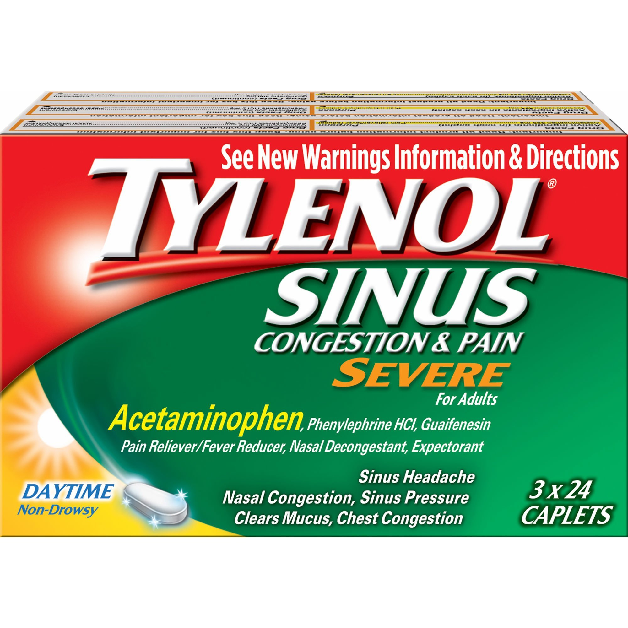 TYLENOL Sinus Congestion and Pain Caplets Daytime 24 ea 3-pack Packaging May Vary by Tylenol