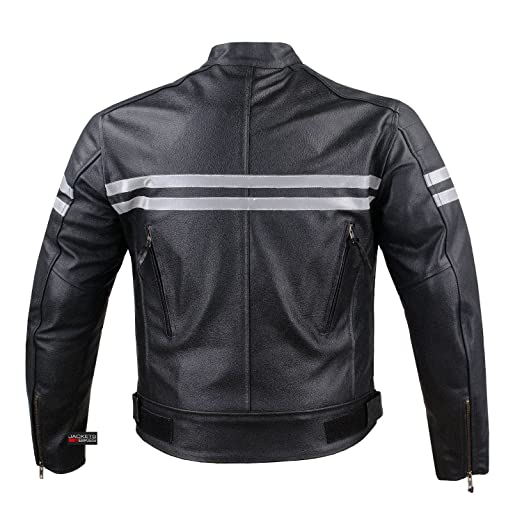 TRACK MOTORCYCLE BIKER ARMOR MEN LEATHER JACKET BLACK L
