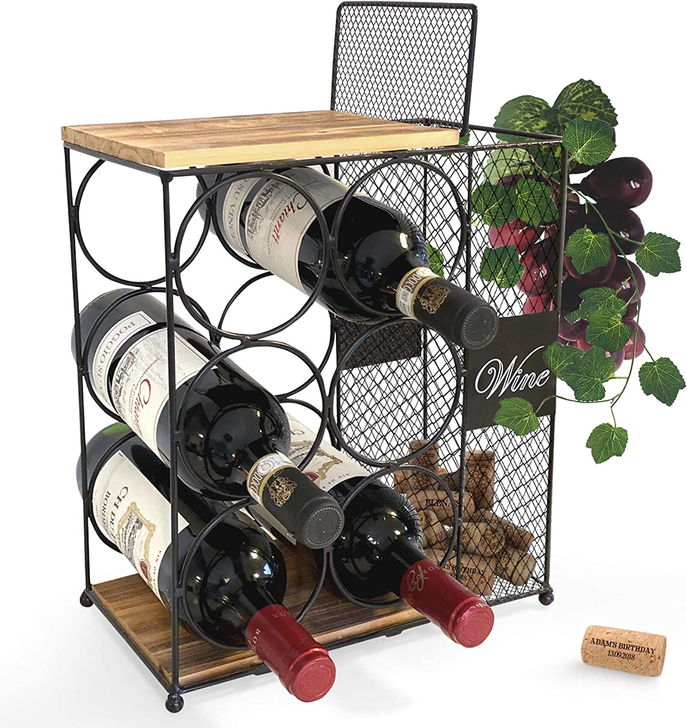 Amazon Com 6 Bottle Wine Rack With Cork Storage Store Red White Champagne Counter Wine Holder For Home Kitchen Decor Decorative Countertop Wine Holder Storage Rack Designed By Anna Stay