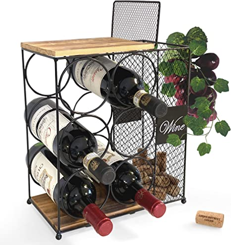 6 Bottle Wine Rack With Cork Storage Store Red White Champagne Counter Wine Holder For Home Kitchen Décor Decorative Countertop Wine Holder Storage Rack Designed By Anna Stay