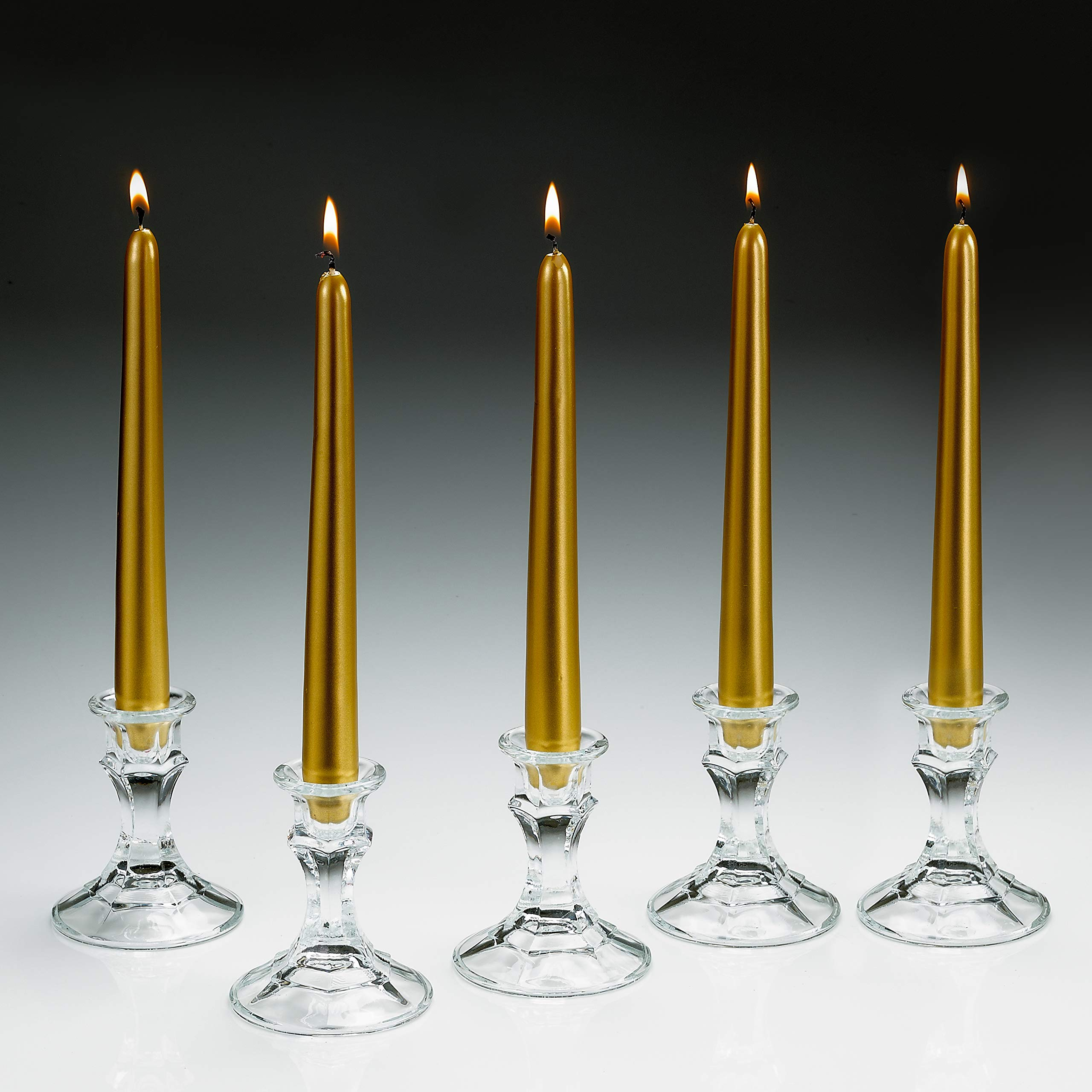 Light In the Dark Elegant Gold Metallic Taper Candle 10 Inch Tall Burn 7 Hours - Set of 5 Unscented Dinner Candle – Smokeless and Dripless with Metal Finish. by Light In the Dark