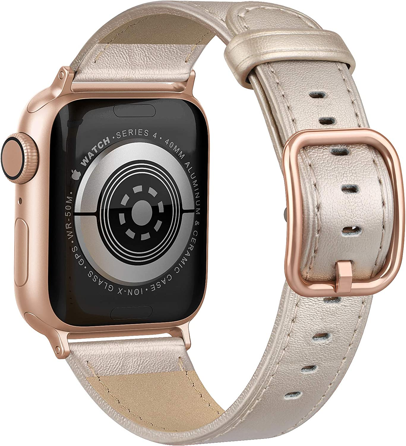 Fuzvol Compatible with iWatch Band 40mm 38mm, Genuine Leather Replacement Band Strap Compatible with Apple Watch SE Series 6 5 4 3 2 1 (Champagne/Rose Gold Blucke, 40mm/38mm)
