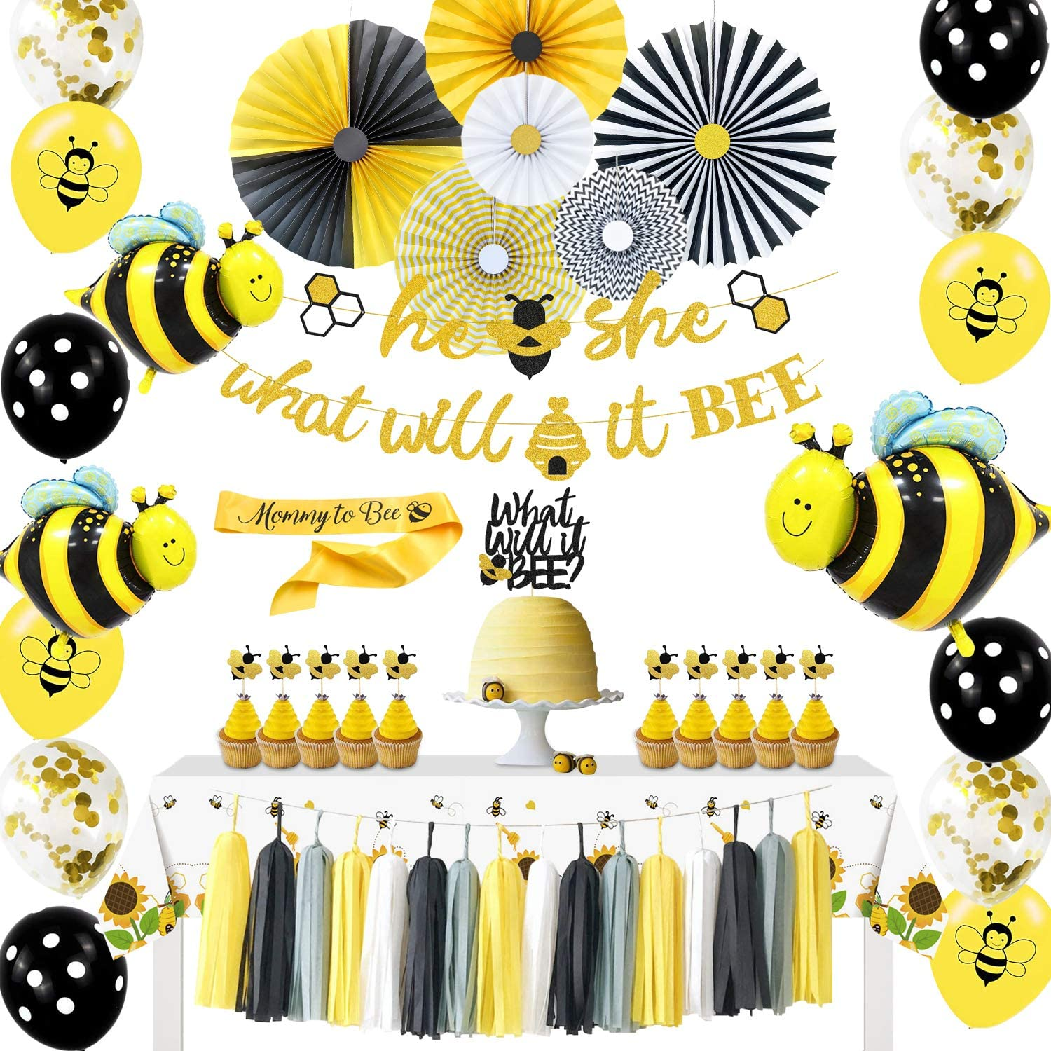 NAIWOXI What Will It Bee Gender Reveal Party Supplies - Bumble Bee Gender Reveal Decorations for Kids Baby Shower, He or She Bee Banner, Bee Theme Table Cloth, Mommy to bee Sash, Paper Fans, Cake Topper, Balloons, for Baby Reveal Party Decorations