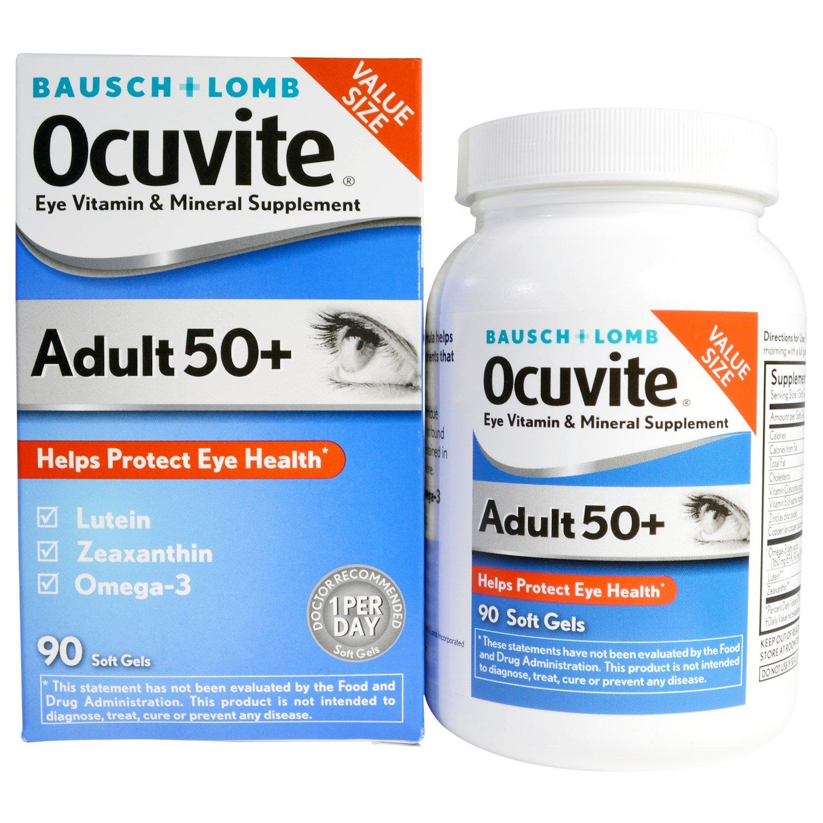Bausch & Lomb Ocuvite, Eye Vitamin & Mineral Supplement, Adult 50+, 90 Soft Gels - 3PC
