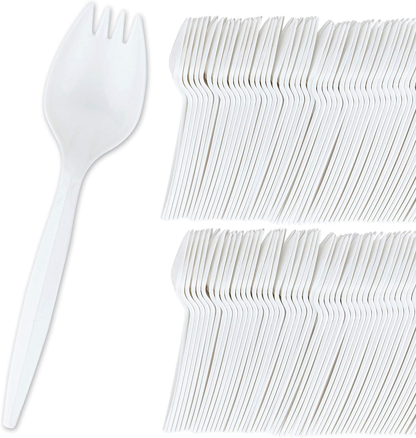 Stock Your Home 100 Disposable Sporks, White Plastic Sporks – Kid Safe 2 in 1 Utensils – Fork Spoon Perfect for School Lunch, Picnics, Catered Events, Restaurants and Kids Birthday Parties