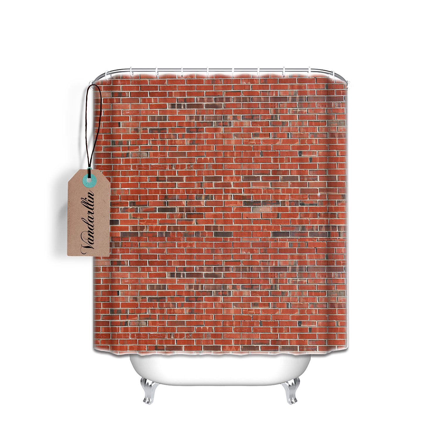 Vintage Red Brick Wall Shower Curtain Extra Long Size 72 x 84 Inch,Bathroom Decoration,Mildew Waterproof Polyester Fabric