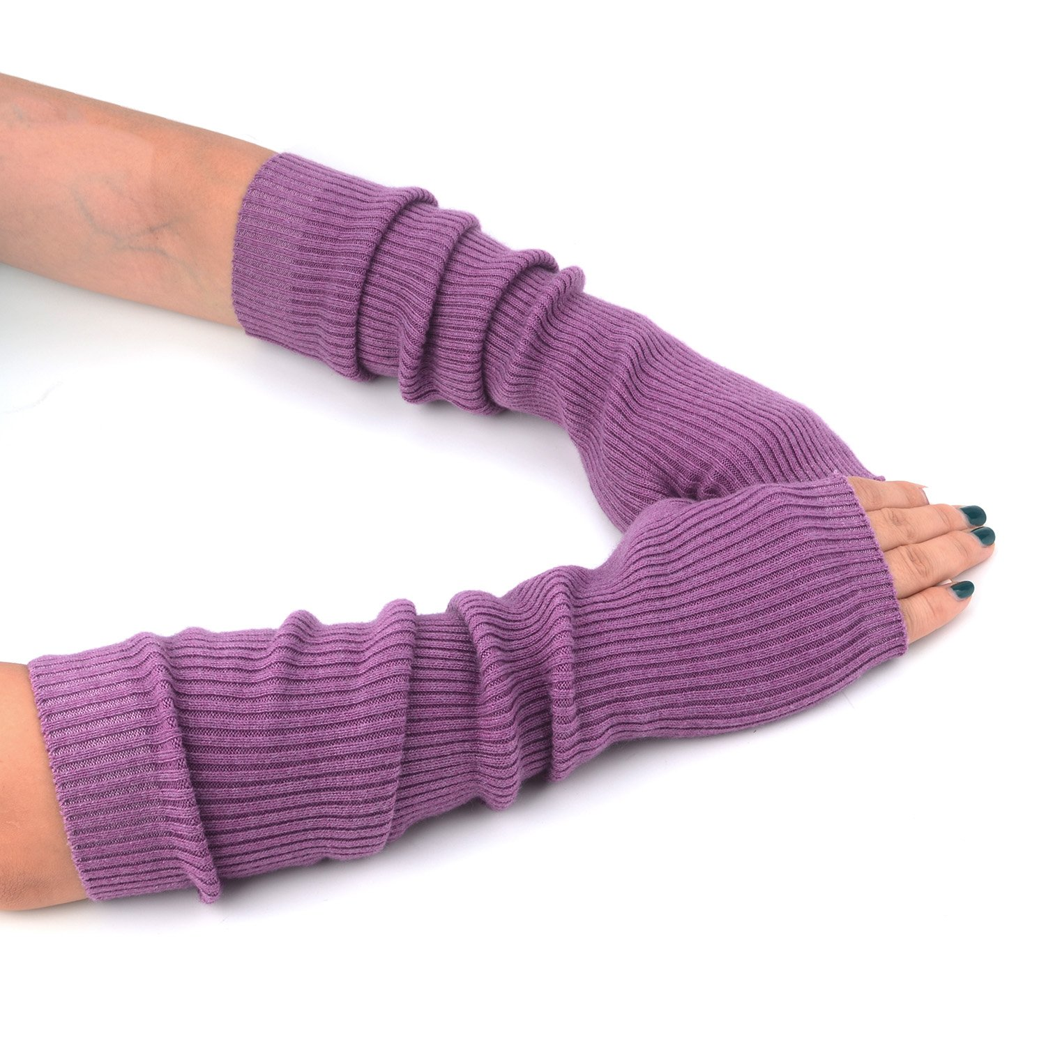 Women Cozy Wool Knit Long Fingerless Gloves Arm Warmers with Finger Holes F Flammi B2021
