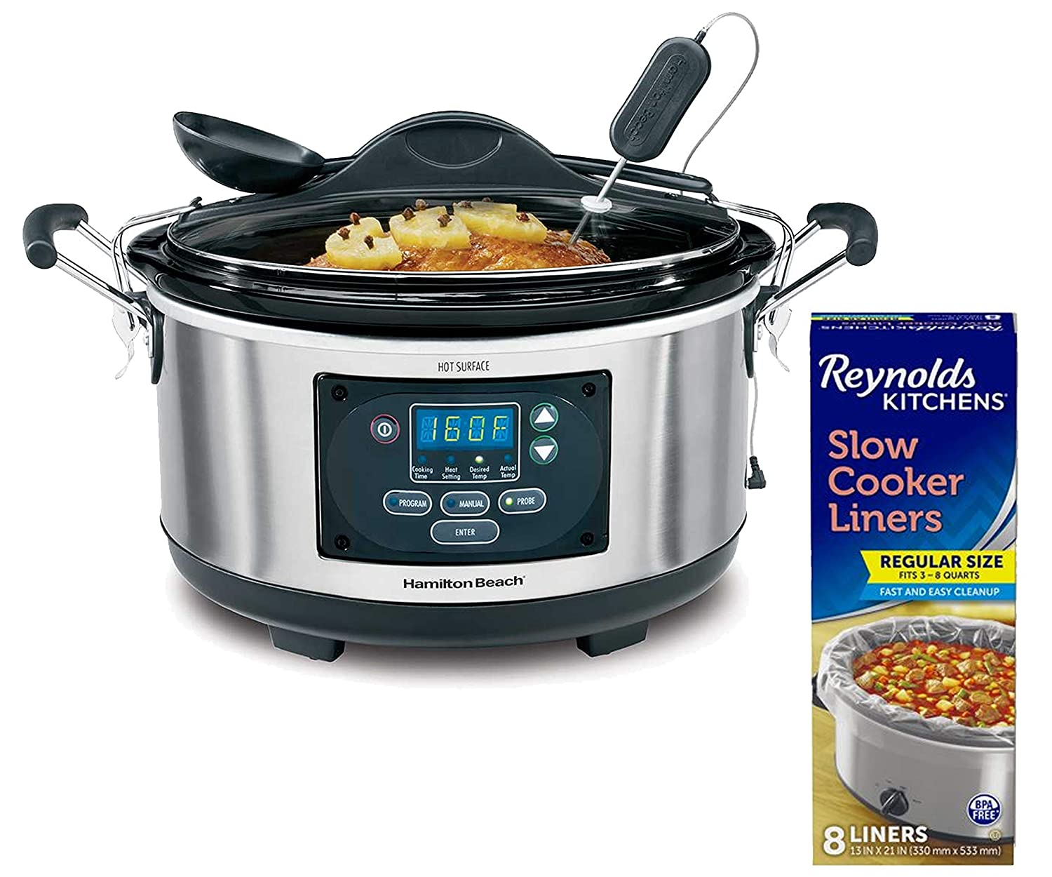"Hamilton Beach 6 Quart Portable Set 'n Forget Probe Slow Cooker bundle with Reynolds Kitchens 8 Count 13"" x 21"" Premium Slow Cooker Liners"