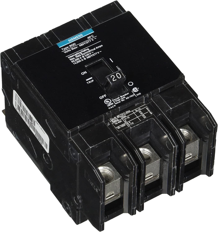 Siemens Circuit Breaker BQD 20 Amp 480Y//277 Volt 3 Pole