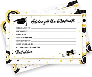 50 Pack Graduation Advice Cards 2021 Bulk – Graduation Decorations 2021 Black & Gold – Advice for the Graduate Graduation Party Supplies Favors Announcements Table Games Graduation Wish Cards