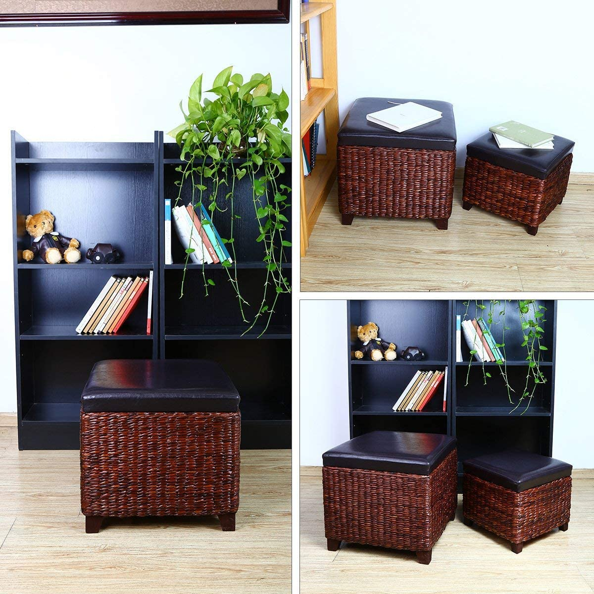 Eshow Ottoman Cube Shaped Storage Ottomans Hassocks and Ottomans as Footrest Stool Ottoman Bench Set with Lift Top and Wood Legs for Bedroom and Living Room Storage 2-Piece: Kitchen & Dining