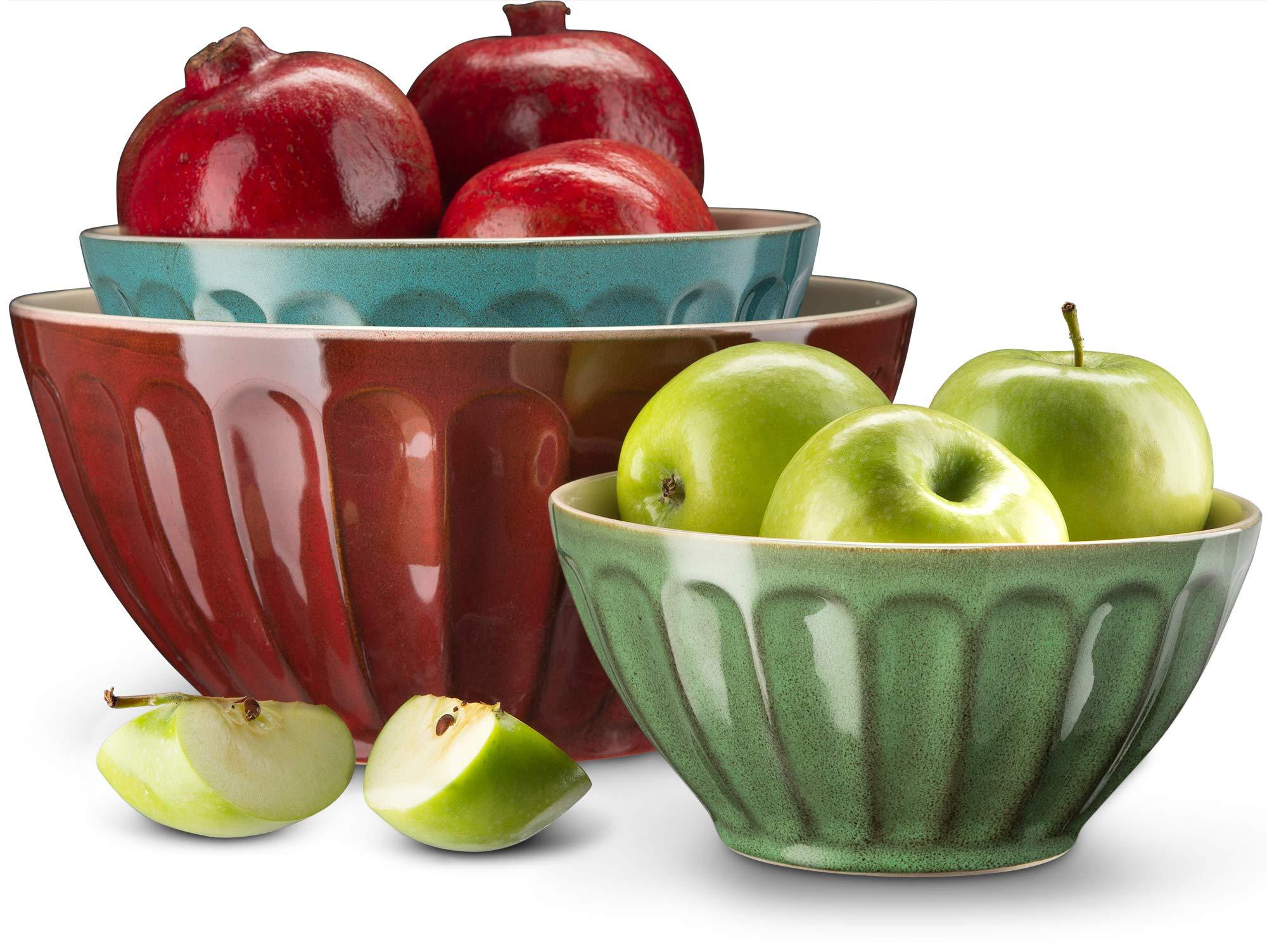 KooK Color Ceramic Mixing/Serving Bowls, Large, Medium, Small, Nesting, Set of 3 by KooK