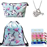 Unicorn Gifts for Girls - Unicorn Drawstring Backpack/Makeup Bag/Inspirational Necklace/Hair Ties