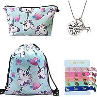 Licorne cadeaux pour filles Lot de 4–Licorne Cordon de serrage Sac à dos/sac de maquillage/inspirants Collier/Cheveux Ties