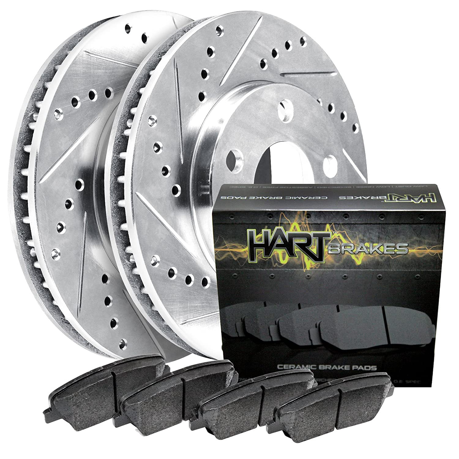 Fits Land Rover Discovery Front Rear Black Drill Slot Brake Rotors+Ceramic Pads
