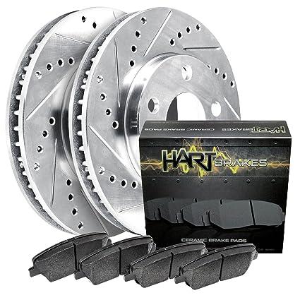 For Infiniti Q45 M45 Front Rear Black Drill Slot Brake Rotors+Ceramic Brake Pad