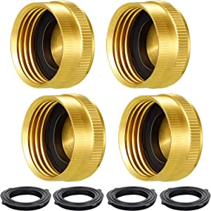 4 Pack 3/4 Inch Garden Hose Brass Hose Cap Female Thread with Extra 4 Pack Washers for Standard Garden Hose