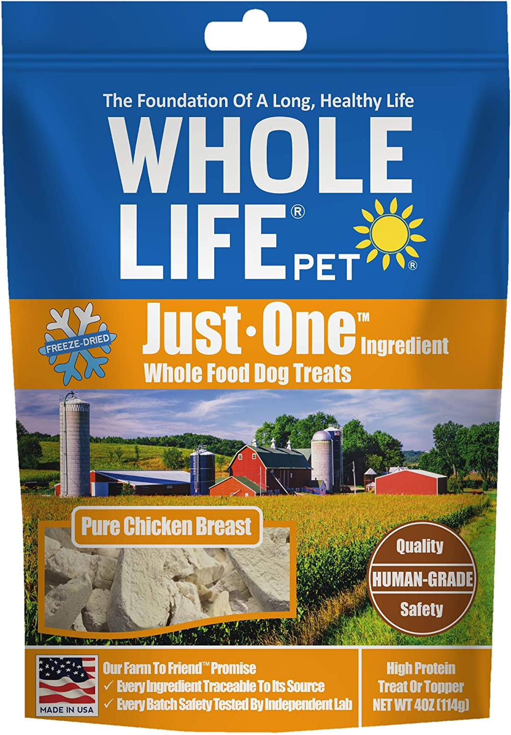 Whole Life Pet Healthy Dog Treats, Human-Grade Chicken, Protein Rich for Training, Picky Eaters, Digestion, Weight Control, Made in the USA, 4 Ounce