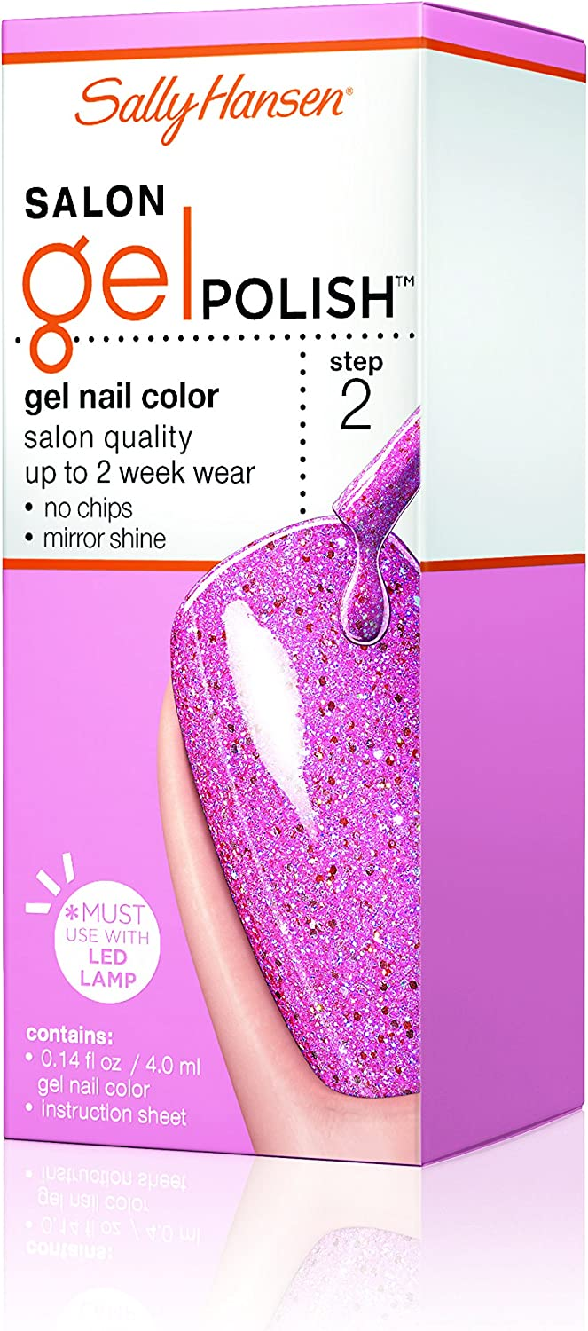 Sally Hansen Salon Pro Gel Nail Polish Lacquer, Glitter Chatter, 0.24 Fl. Oz.