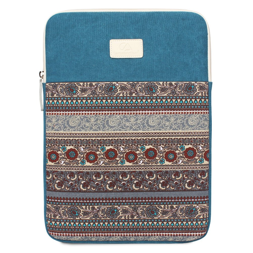 Feisman 13-14 Inch Laptop Sleeve Case / Water-resistant Canvas Computer Tablet Carrying Bag Cover, 14 Inch Netbook Sleeve zipper pocket -Lake Blue